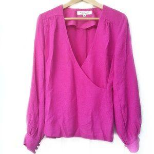 NWT Trina Turk Hot Pink Silk Blouse